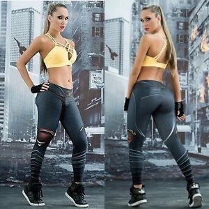 Women Stretch Fitness Yoga Leggings High Waist Pants Running Gym Sports Trousers