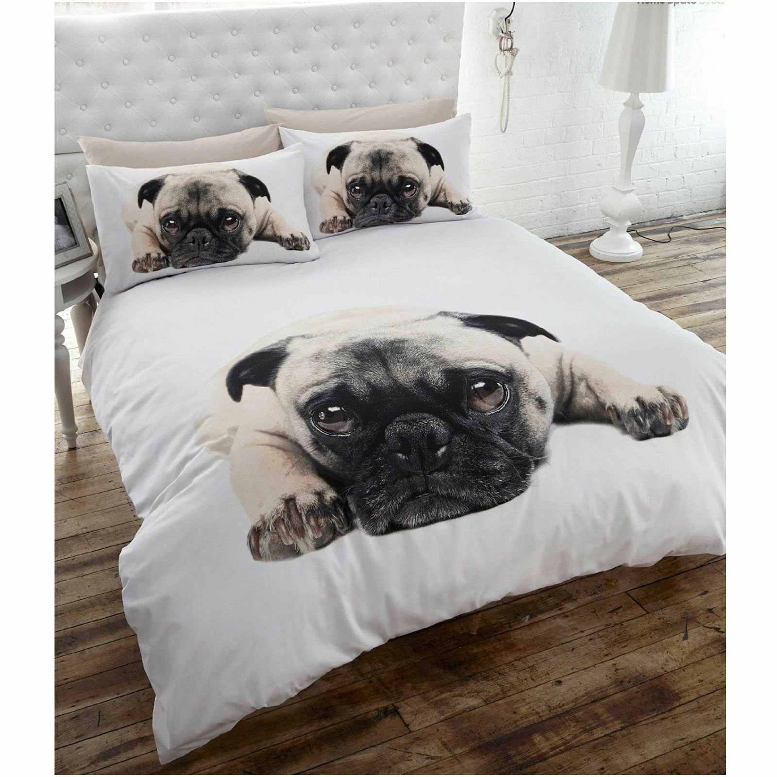 DOUBLE DOG PUPPY PUG DUVET COVER BEDDING ANIMAL NEW