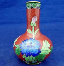 Antique Chinese Cloisonne Small Bottle Shaped Vase Cloud Scrolls Lapis Effect