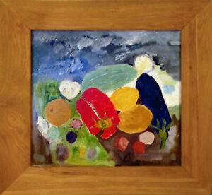 Original 73x68 Framed Katya Medvedeva Signed Oil Painting Ölgemälde Naive Naiv