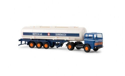 "#81040 - 1:87 Brekina MB LPS 1620 Tank-Sattelzug /""Bertschi AG/"" blau - CH"