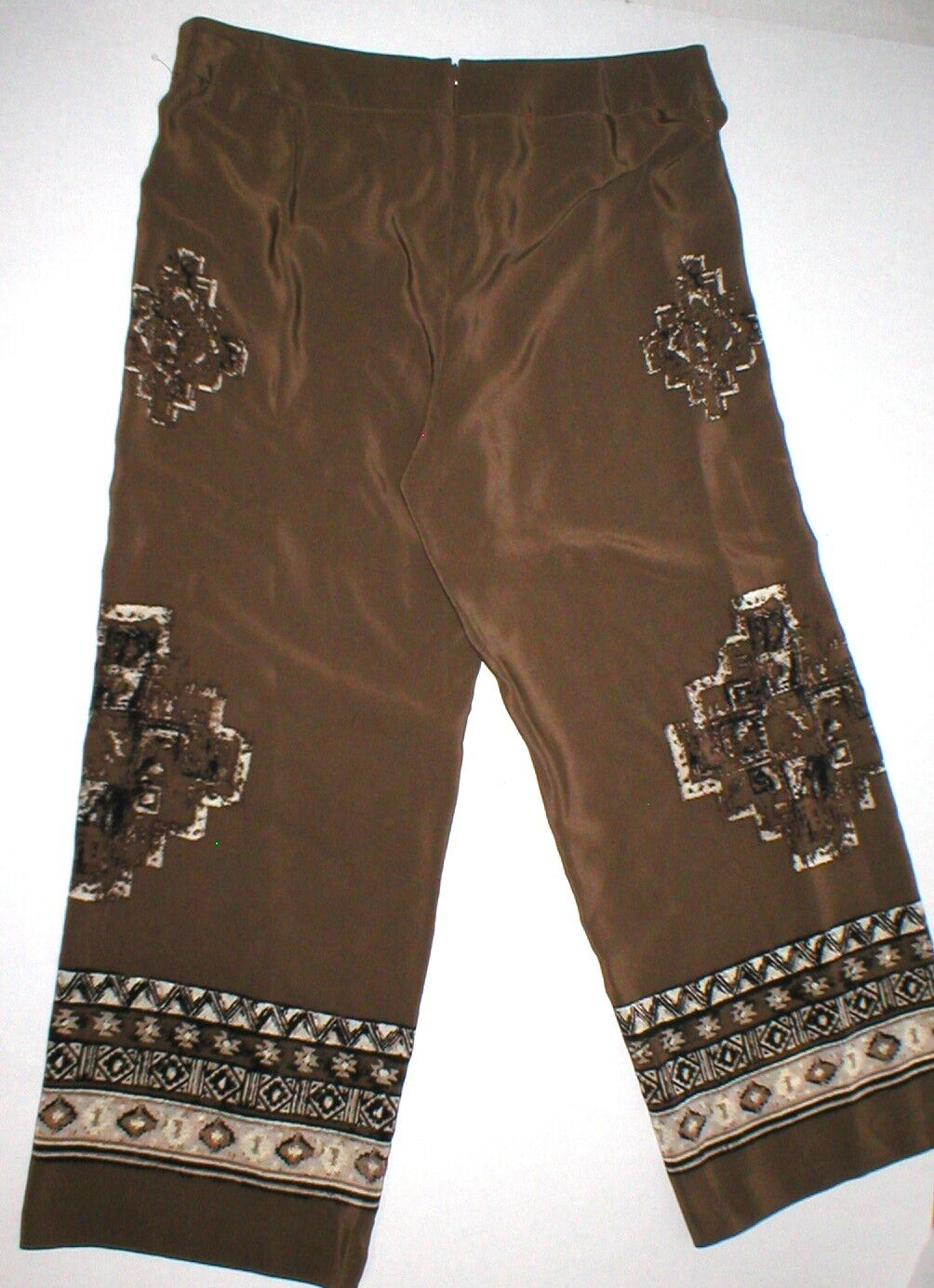 Womens Worth New York  498 4 USA Print Silk Pants Brown White Wide Ethnic Border