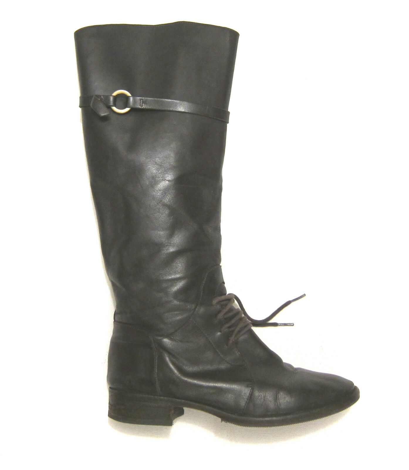 485 Joie Martha Riding bottes Knee High Lace & Strap in marron leather sz 9 39