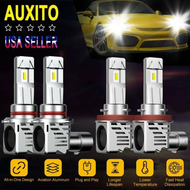 4X AUXITO 9005 H11 Zes LED Headlight Kit Hi//Low Beam 6500K Mini Bulb 48000LM 12V