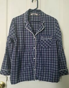 22cfaa526020b Details about Victoria's Secret Small purple pink yellow white plaid button  down, sleep shirt