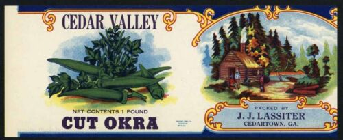 CEDAR VALLEY Vintage Cut Okra Georgia Can Label AN ORIGINAL 1920's TIN CAN LABEL