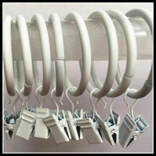 10 Stück Groß Gardinenringe Vorhangring mit Klammern Weiß für Gardinienstange