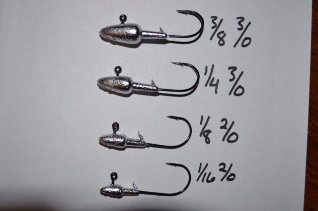 25 Pack 1//2oz Round Head Jig  2//0 Black Nickel Hook