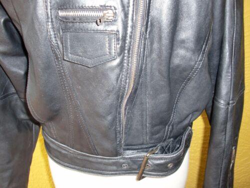 Black Motorcycle cropped Vtg M foxrun Up Giacca Auth Zip Biker taglia I6qBTEfw