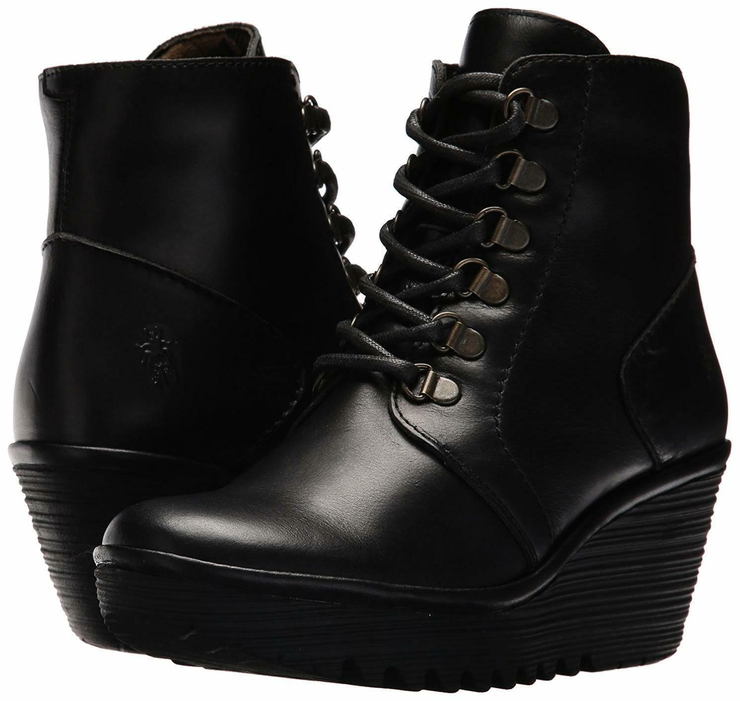 FLY LONDON YARN772FLY BLACK LEATHER WEDGE ANKLE BOOTS UK 8 EUR 41 BNIB