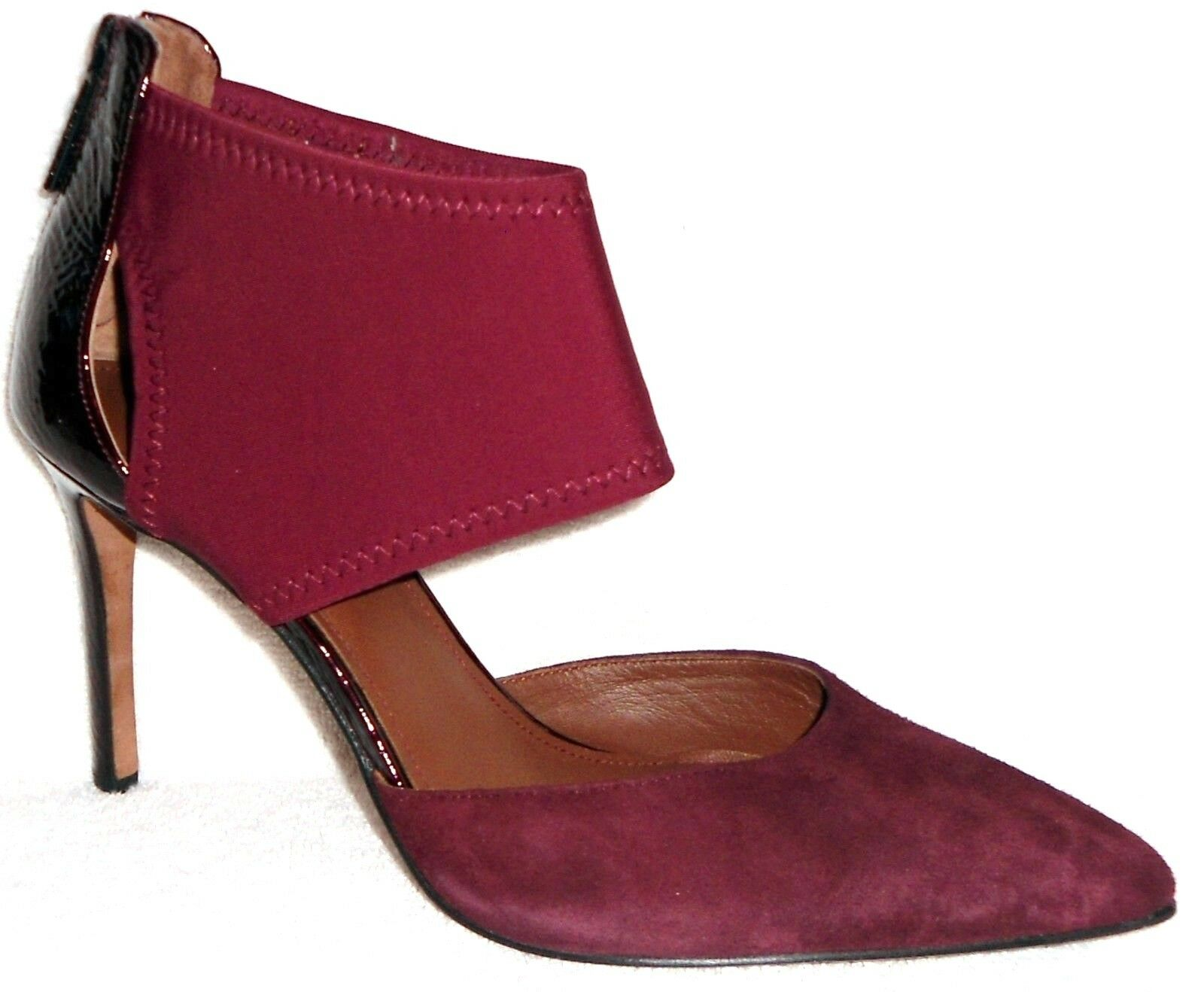 Donald J Pliner Karis Merlot Suede & Stretch Pointy Toe D'Orsey Pumps 10 M