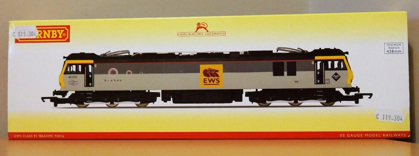 OO Gauge Hornby R3480 Class 92 Electric Locomotive EWS 'Brahms' BNIB