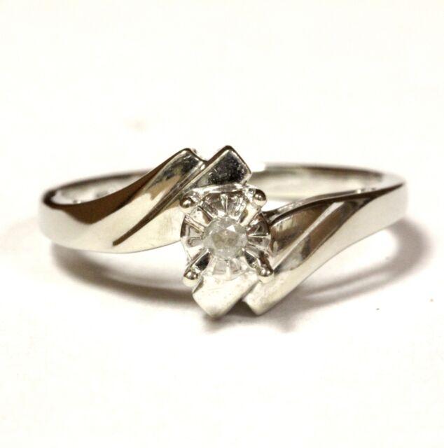 10k white gold .03ct I3 I round diamond Illusion head engagement ring 2.2g