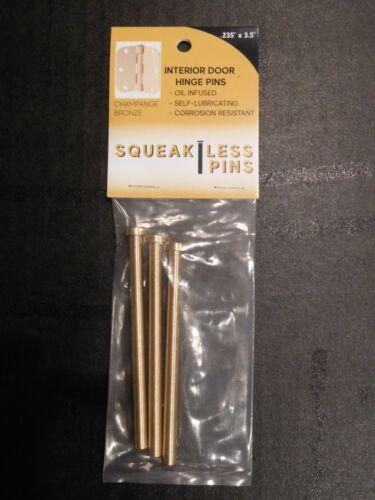 """Squeakless Residential .234/"""" x 3.5/"""" Door Hinge Pin Pack 3 Brass No Squeak"""