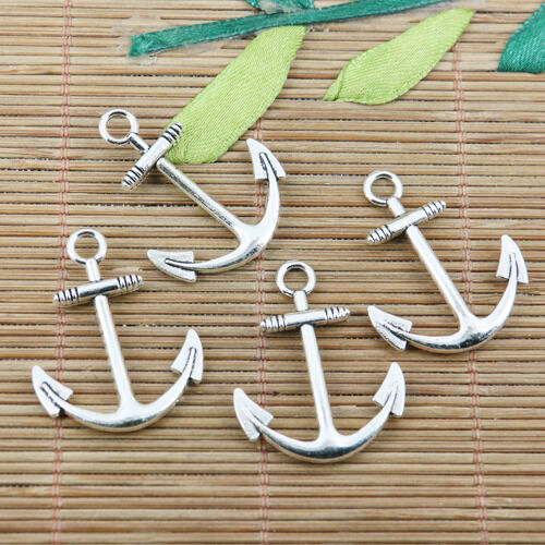 8pcs tibetan silver color curved anchor charms EF2425