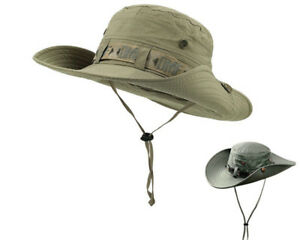 Unisex Fishing Sun Hat Outdoor Boonie Hat Wide Brim Bucket Hunting ... 264063ec8ad