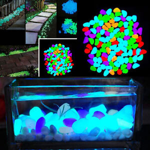 Lots 5 30pc colorful glow in the dark stones pebbles rock for Glow in the dark fish tank