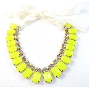 Neon-Yellow-Chunky-Statement-Diamante-Bib-Necklace-BNWT