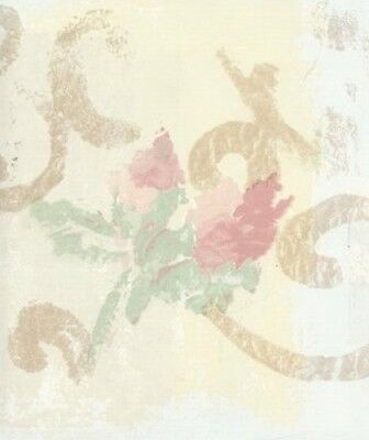 Wallpaper Border Pastel Watercolor Floral Scroll On Yellow  Blue Faux