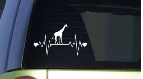 "Giraffe heartbeat lifeline *I217* 8/"" wide Sticker decal zoo animals"