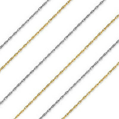 """14k Solid Yellow Rose White Gold 1 mm Thick Rope Chain 13/"""" 15/"""" 16/"""" 18/"""" 20/"""" 22/"""""""