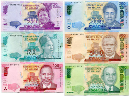 MALAWI SET 6 UNC 20 50 100 200 1000 KWACHA RANDOM DATE  P 57-63 NEW