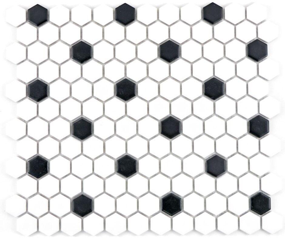 Mosaik Fliese Keramik Hexagon schwarz weiß matt Sauna 11A-0301_f  10Matten