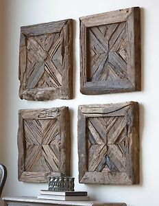 Details About Four Farmhouse Reclaimed Rustic Pine Wood Wall Panels Shutter Look Wall Art