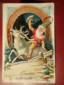 early-1900-SANTA-GNOME-REINDEER-CHRISTMAS-VINTAGE-POSTCARD-FINLAND-FINNISH