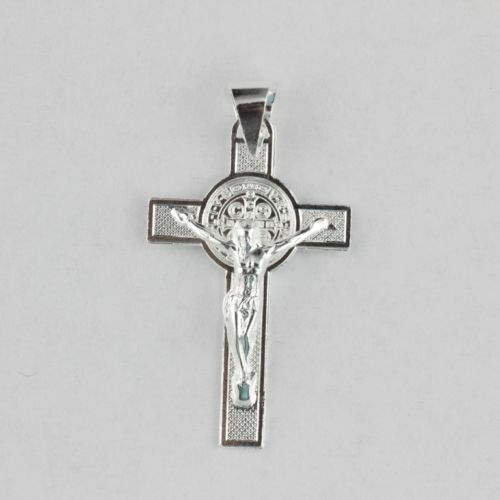 Solid 925 Sterling Silver Unisex Cross Medal Pendant St Benedict San Benito 38mm
