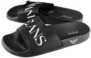 b380272c1fe98 NWT ARMANI JEANS FLAT SLIP SANDALS black slipper slides logo Italy ...