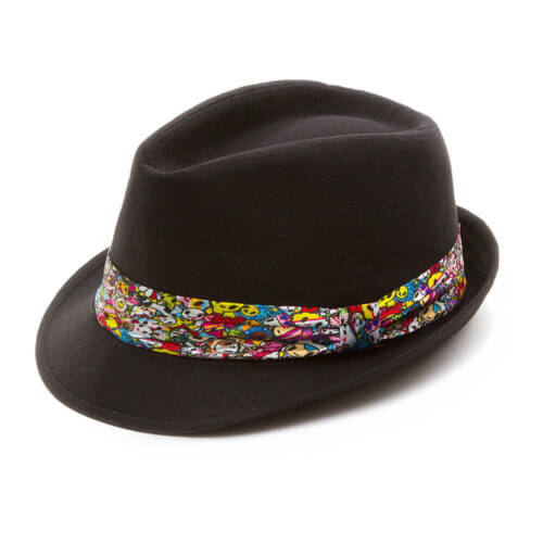 tokidoki Black Fedora Hat Neon Star Donutella Sandy Colorful Fun Sandy NWT