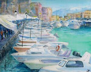 034-Chania-034-ORIGINAL-signed-watercolor-painting-Marina-Harbor-boats-Greece-Hania