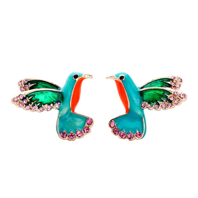 d4079dc6a Frequently bought together. Women Gifts Bird Shape Earrings Crystal Drill  Enamel Glaze Stud Earring