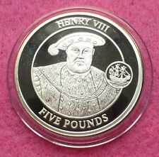 2008 GIBRALTAR KING HENRY VIII   FIVE POUND SILVER PROOF COIN