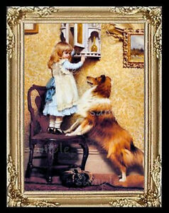 Victorian Girl And Her Dog Miniature Dollhouse Picture