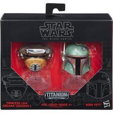 Hasbro Star Wars Black Series Titanium BOBA FETT + LEIA BOUSHH Diecast Helmets