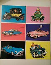 6 carte postale voiture Lagaffe Spirou Vaillant Achille Talon Kebra Gil Jourdan