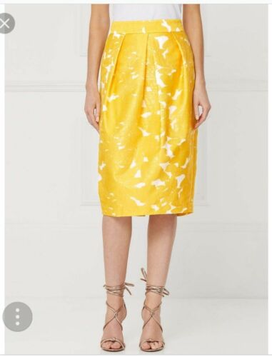 10 /& 12 UK Tag £ 50 NEXT belle délicate jaune jacquard Tulipe Jupe tailles 6