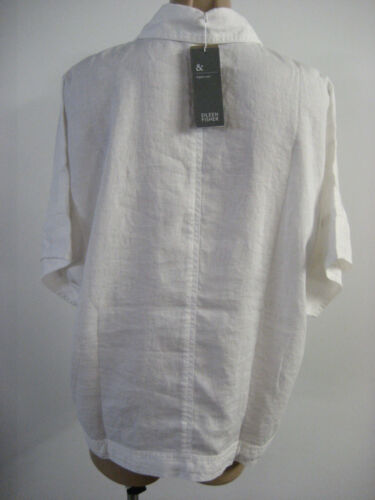 Large Nwt Fisher en taille à 198 Eileen Veste lin stretch L courtes blanc manches aUxnw7Pq