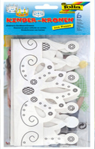 Folia 6 tolle Kinderkronen aus Pappe verschiedene Modelle sortiert