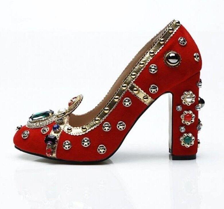 NS11 Scarpe da Donna di Design Borchiato Borchiato Design Decorato Gemme Slip On Scarpe Tacchi a0d6f0