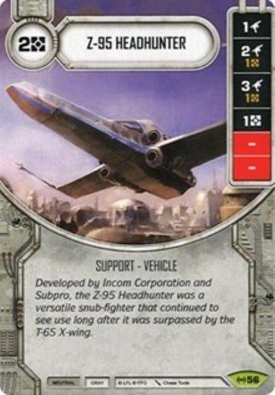 Star Wars Destiny Empire at War Set Z-95 Headhunter #56 Rare w// Die