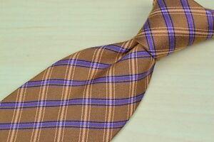Ermenegildo-Zegna-Brown-Purple-Plaid-100-Silk-Tie-EUC-Made-in-Italy