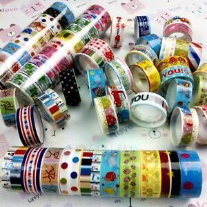 10Pcs DIY Paper Sticky Adhesive Sticker Decorative Washi Tape Bulk 1.5cm*3 Meter