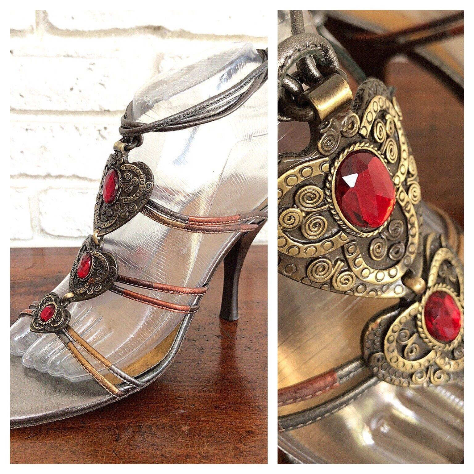 96ce3107f0f J Pliner Metallic Bronze gold Leather Strappy Heel Sandals W ...