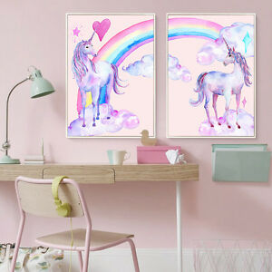 Image Is Loading Pink Unicorn Poster Canvas Watercolor Art Prints Nursery