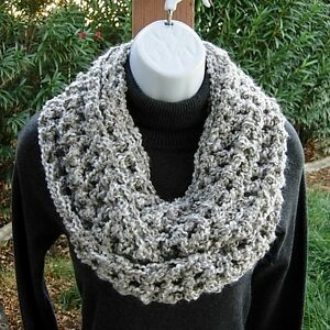 7931fb23d Light Silver Gray & White Infinity Scarf, Crochet Knit Circle Winter ...