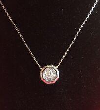 VINTAGE ART DECO 14K WHITE GOLD & A .25 CARAT SOLITAIRE DIAMOND CENTER NECKLACE