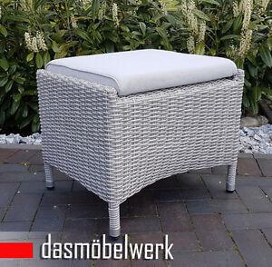 Lounge-Hocker-Fusshocker-Gartenmoebel-Polyrattan-Beinauflage-MILANO-Silbergrau